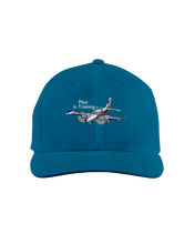 Pilot in training twin engine low wing white art on dark cap 1
