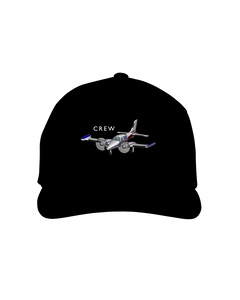 Crew twin engine low wing white art on dark cap 1