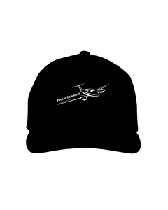 Pilot in Command twin jet white art on dark cap