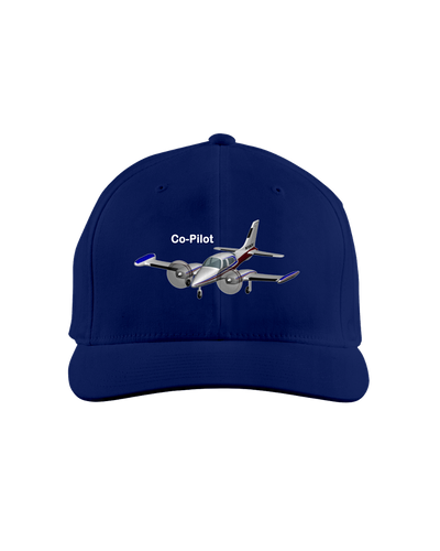 Co-Pilot twin engine  white art on dark cap 1