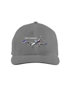 Pilot in Command twin engine  white art on dark cap 1