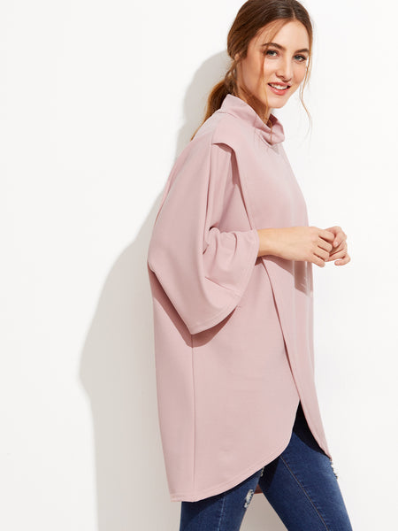 Pink High Neck Wrap Blouse