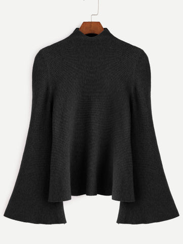 Black Mock Neck Bell Sleeve Jersey Sweater