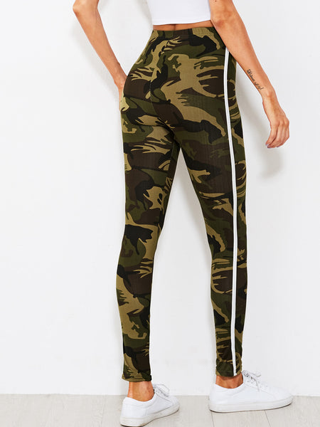 Camo Print Tape Side Leggings