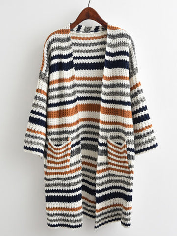 Linear Textured Knit Longline Cardigan Sweater