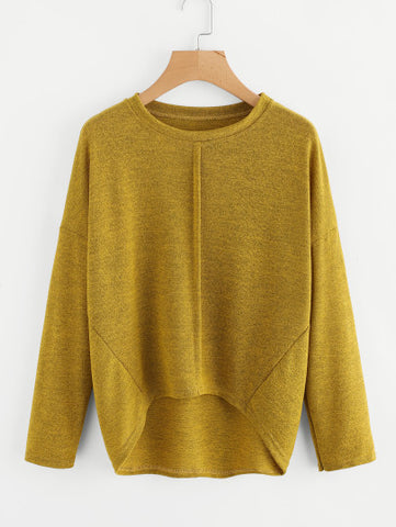 Drop Shoulder Dip Hem Marled Knit Tee
