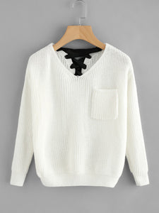V Black Up Back Texture Knit Sweater
