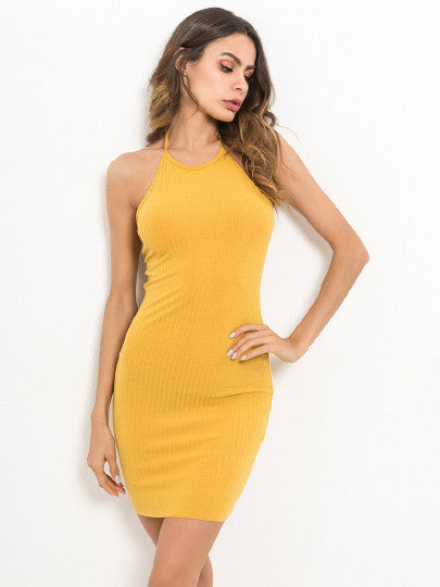 Slim Fit Solid Cami Dress