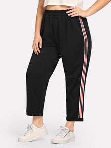 Plus Striped Side Elastic Waist Pants
