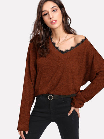 Lace Contrast Eyelash Knit Jumper