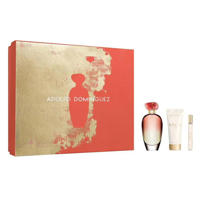 Adolfo Dominguez única Coral Eau De Toilette Spray 100ml Set 3 Pieces