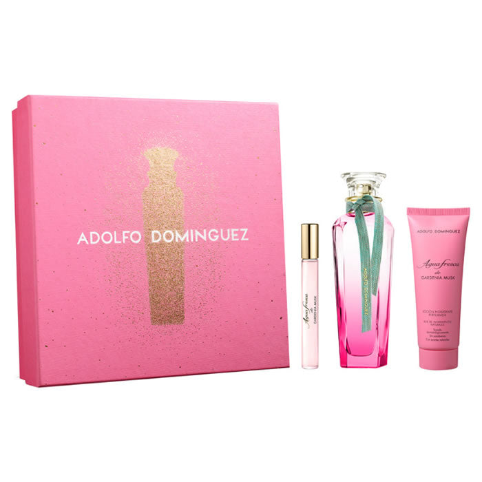 Adolfo Dominguez Agua Fresca Gardenia Musk Eau De Toilette Spray 120ml Set 3 Pieces