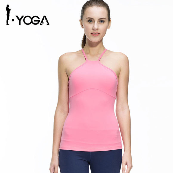 Fitness Women Sleeveless Shirts Jogging Vest Gym Sports Running Clothes Tight Yoga Top with Breathable Quick Dry Spandex