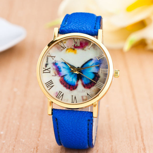 Watches Womens  Butterfly Style PU Leather Band Analog Quartz Wrist Watch For Women relogio feminino Montre Femme #527