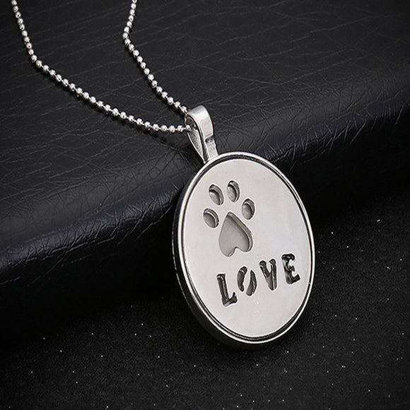 Hollow Love Letter Luminous Pendant Necklace Personality Dog Feet Chain A