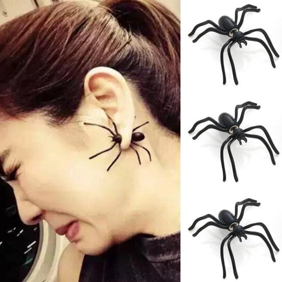 3 PC Fashion Black Spider Punk Unisex Funny Stud Earring