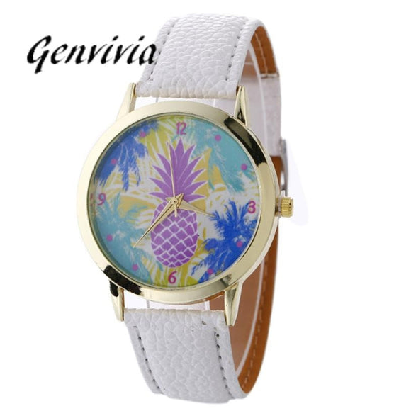 Women's Quartz Watch Fashion Neutral pineapple Pattern Leather Wrist Watch PU Leather Analog Wristwatch montre femme relogio