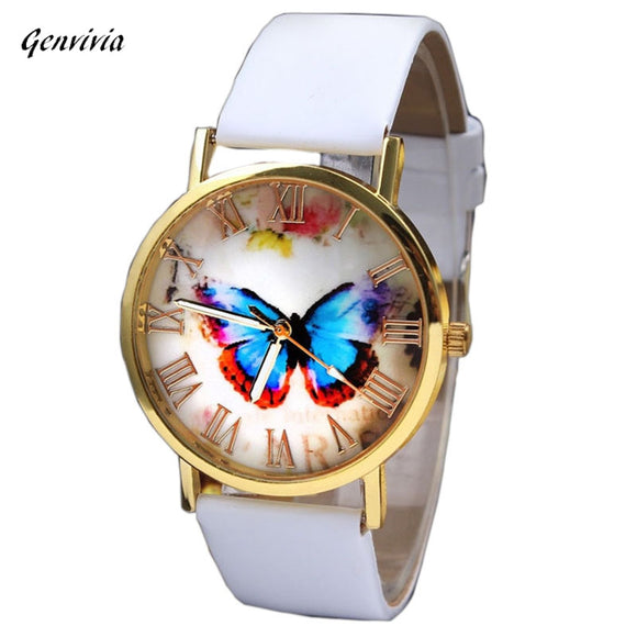 GENVIVIA  High Quality 1 pcs Women's Watches  Quartz Watch Wrist 3 colors Watch Butterfly reloj Leather Band watch