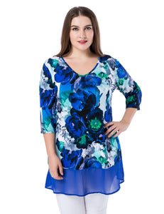 Chicwe Women's Plus Size Floral Printed Tunic Top V-Neck with Chiffon Hem US16-26