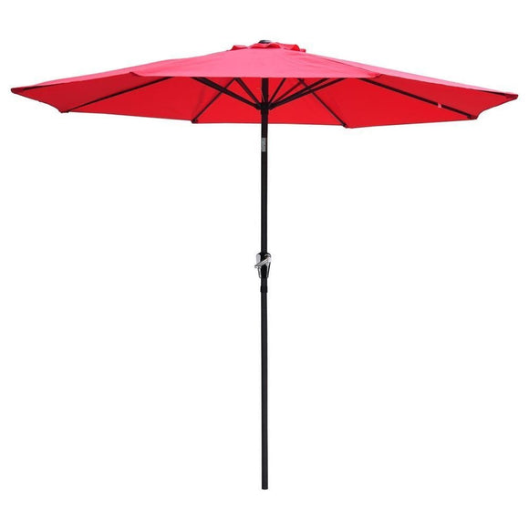 New Beach 9' FT Patio Outdoor Market Sun Aluminum Umbrella w/ Crank Shade RED