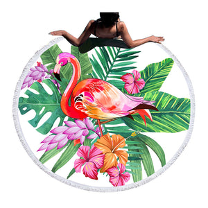 Flamingo Round Beach Towel Large Towel for Adults Woman Blanket Printed Toalla Tassel Tapestry