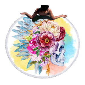 Colorful Skull Round Beach Towel Floral Tassel Tapestry Watercolor Flower Yoga Mat Toalla Blanket
