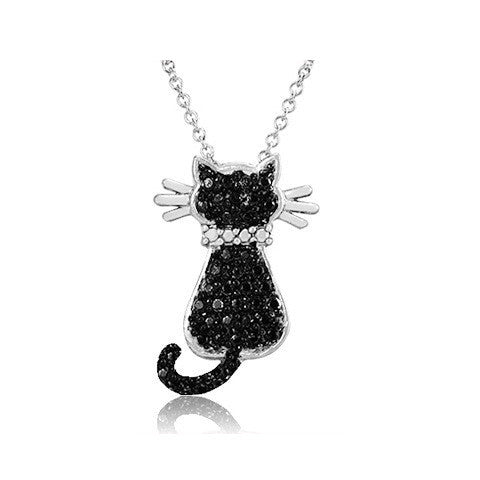Silver Overlay Black Diamond Accent Cat Pendant with 18