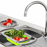 Foldable Strainer Basket Colander Expandable Handle Kitchen Camper Wash Drainer Fruit Vegetables