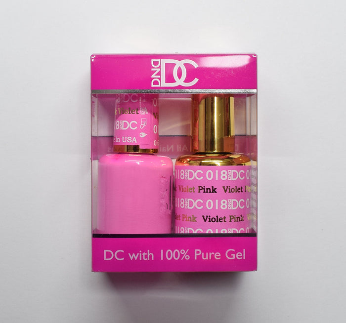 DND DC - Gel Polish & Matching Nail Lacquer Set - #018 VIOLET PINK