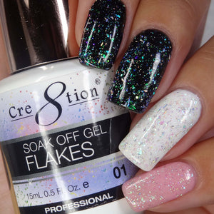 Cre8tion Flakes Soak Off Gel UV/LED 0.5 Fl oz - 01