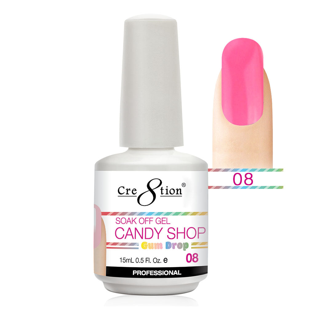 Cre8tion Soak Off Gel UV/LED 0.5 Fl oz. - Candy Shop 08