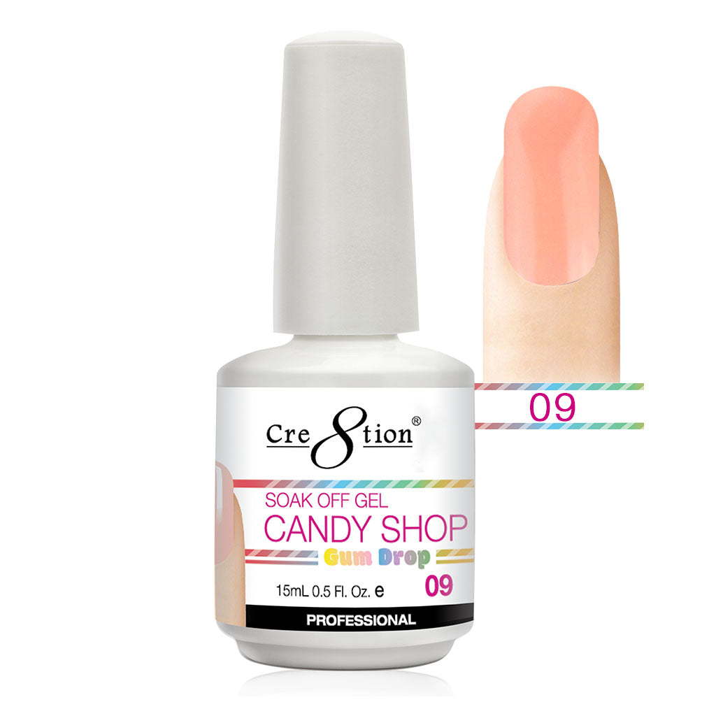 Cre8tion Soak Off Gel UV/LED 0.5 Fl oz. - Candy Shop 09