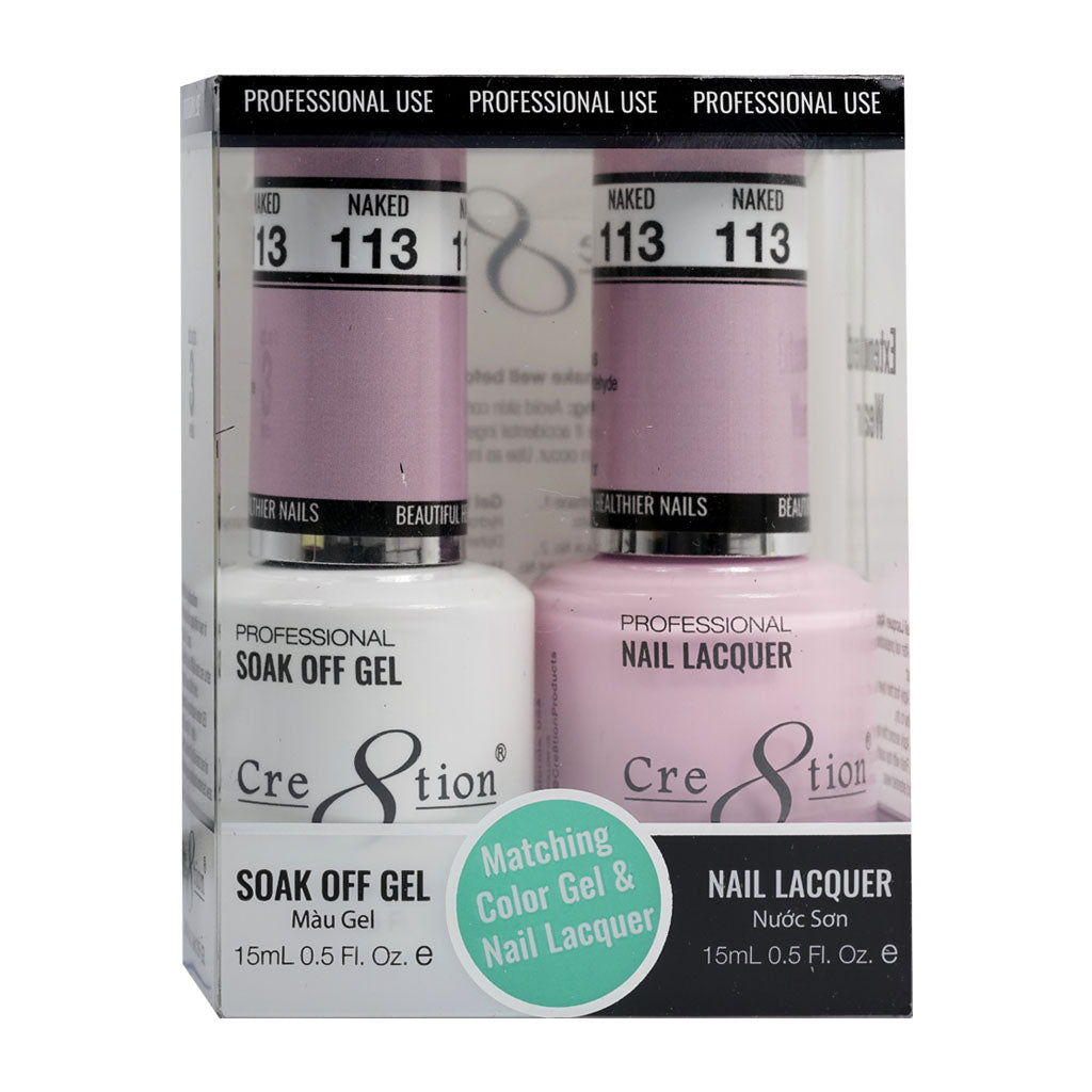 Cre8tion Soak Off Gel & Matching Nail Lacquer Set | 113 Naked