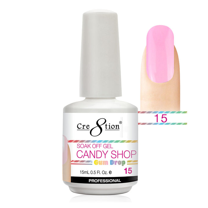 Cre8tion Soak Off Gel UV/LED 0.5 Fl oz. - Candy Shop 15