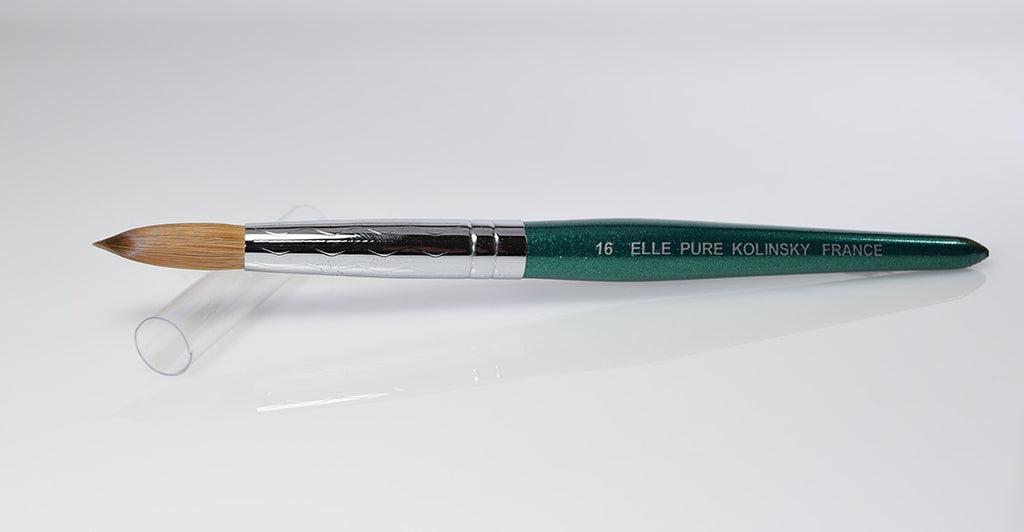 Acrylic Nail Brush Kolinsky | Elle Green Handle ROUND Size #16