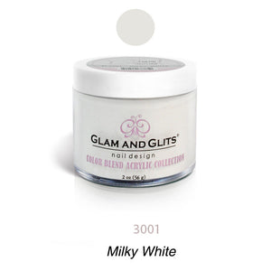 Glam and Glits BLEND Ombre Acrylic Marble Nail Powder 2 oz - BL3001 MILKY-WHITE