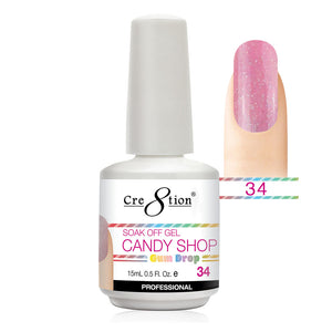 Cre8tion Soak Off Gel UV/LED 0.5 Fl oz. - Candy Shop 34