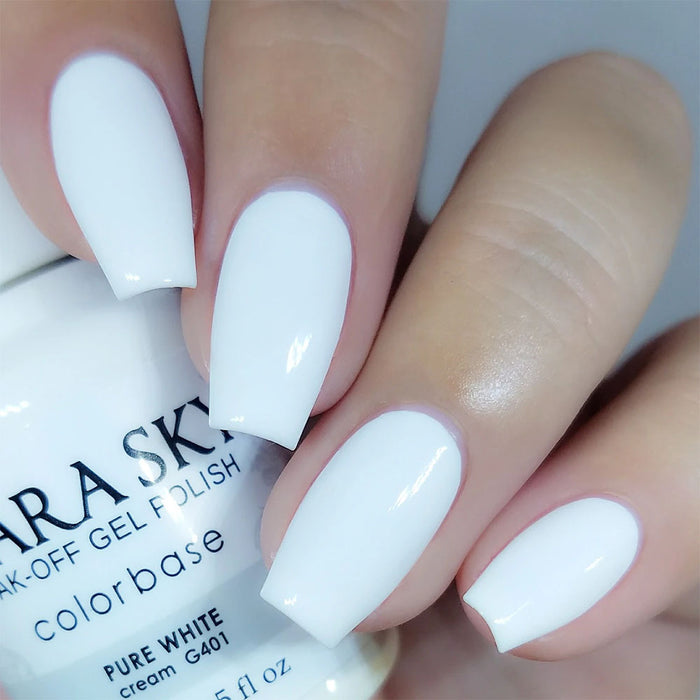 kiara Sky Soak Off Gel Polish 0.5 fl oz UV/LED - G401 PURE WHITE