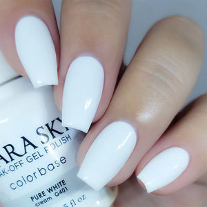 Kiara Sky Gel Polish + Matching Nail Lacquer - #401 PURE WHITE