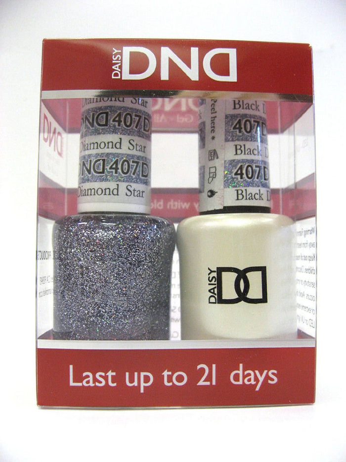 DND - Soak Off Gel Polish & Matching Nail Lacquer Set - #407 BLACK DIAMOND STAR
