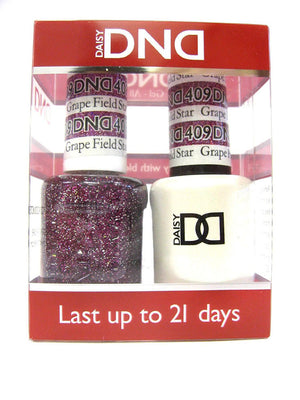 DND - Soak Off Gel Polish & Matching Nail Lacquer Set - #409 GRAPE FIELD STAR