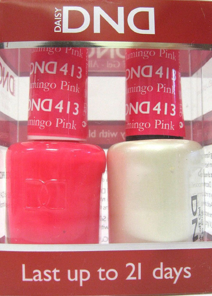 DND - Soak Off Gel Polish & Matching Nail Lacquer Set - #413 FLAMINGO PINK