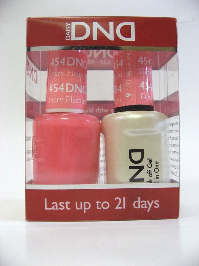 DND - Soak Off Gel Polish & Matching Nail Lacquer Set - #454 FIERY FLAMINGO