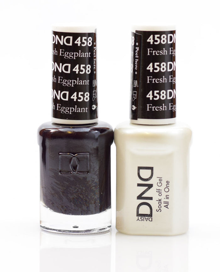 DND - Soak Off Gel Polish & Matching Nail Lacquer Set - #458 FRESH EGGPLANT