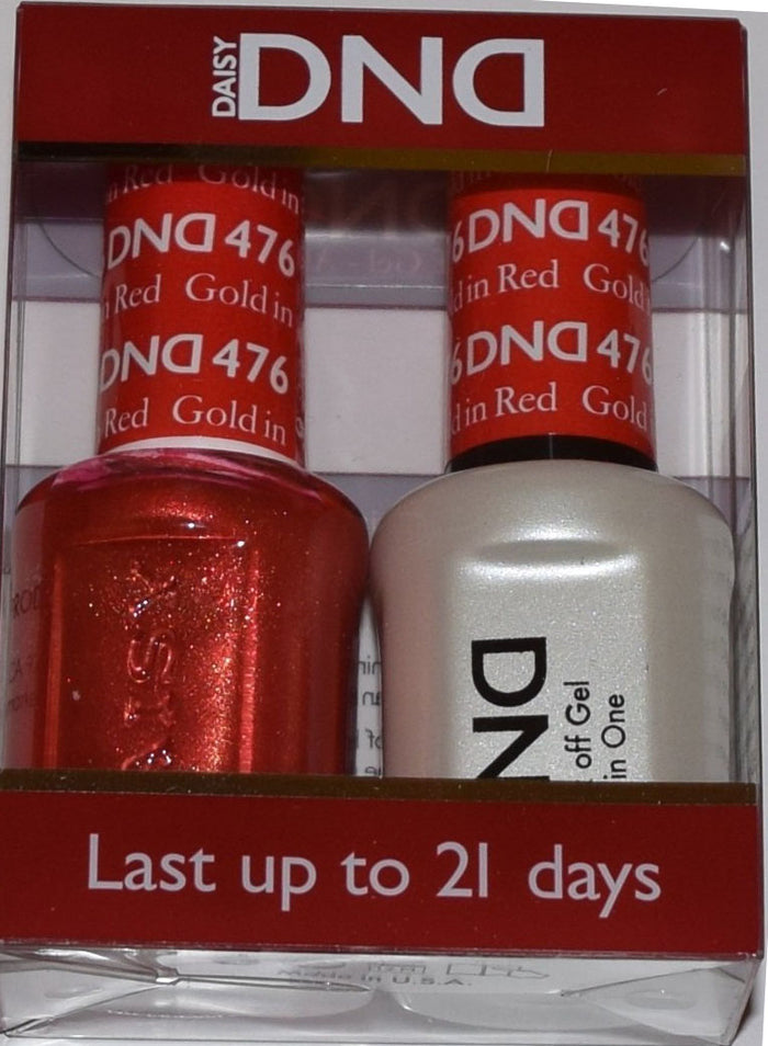 DND - Soak Off Gel Polish & Matching Nail Lacquer Set - #476 Gold in Red