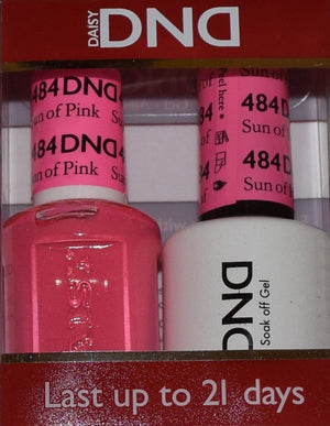 DND - Soak Off Gel Polish & Matching Nail Lacquer Set - #484 SUN OF PINK