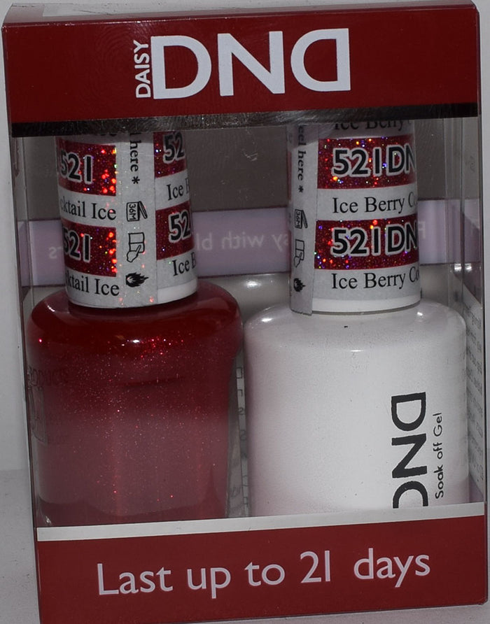 DND - Soak Off Gel Polish & Matching Nail Lacquer Set - #521 ICE BERRY COCKTAIL
