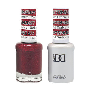DND - Soak Off Gel Polish & Matching Nail Lacquer Set - #677 RED OMBRE
