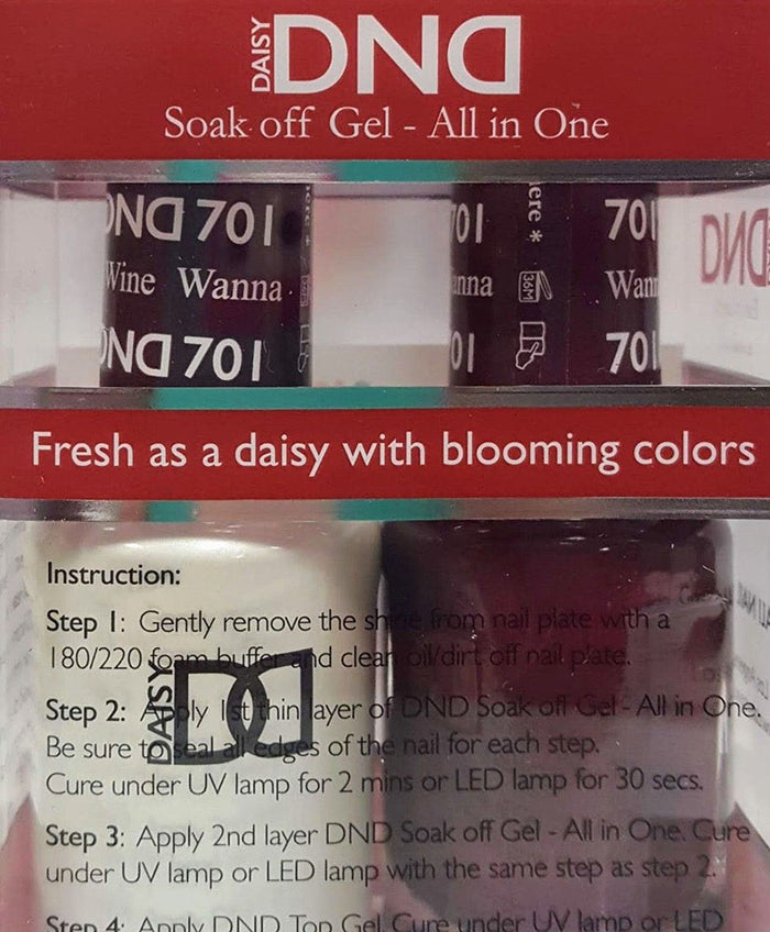 DND - Soak Off Gel Polish & Matching Nail Lacquer Set - #701 WANNA WINE
