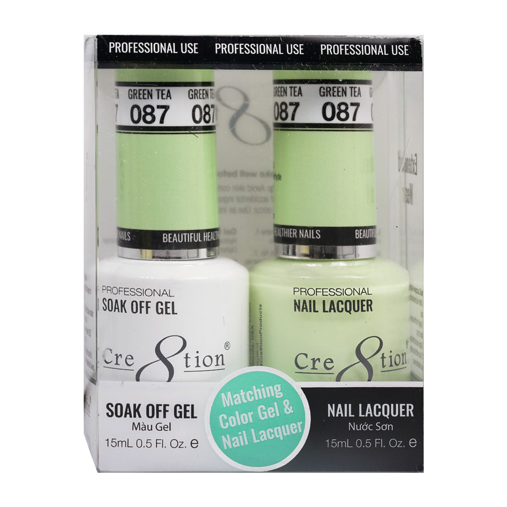 Cre8tion Soak Off Gel & Matching Nail Lacquer Set | 087 Green Tea